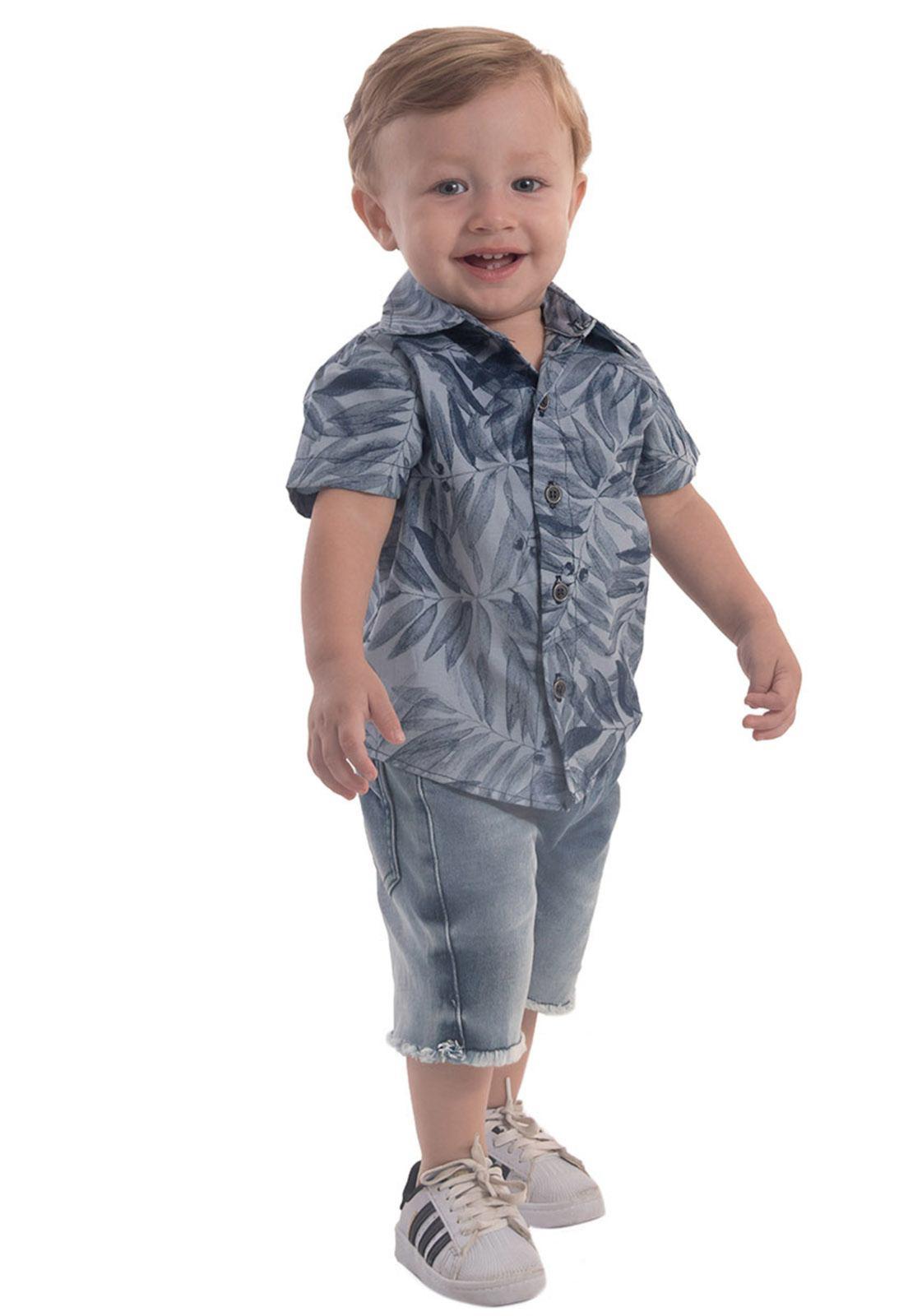 Camisa Jeans Estampa Folhagem Ref. 591