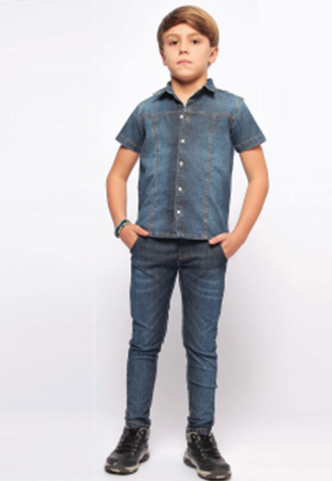 Camisa Jeans Estonada para Menino Ref. 246