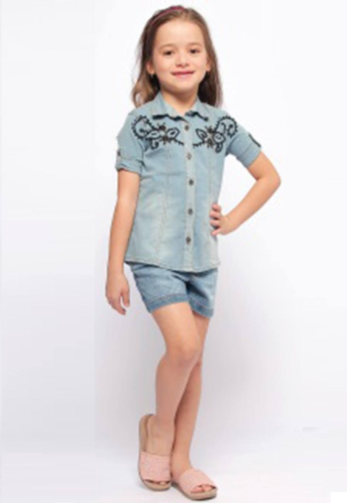 Camisa Jeans Lavagem Clara para Menina Ref. 244