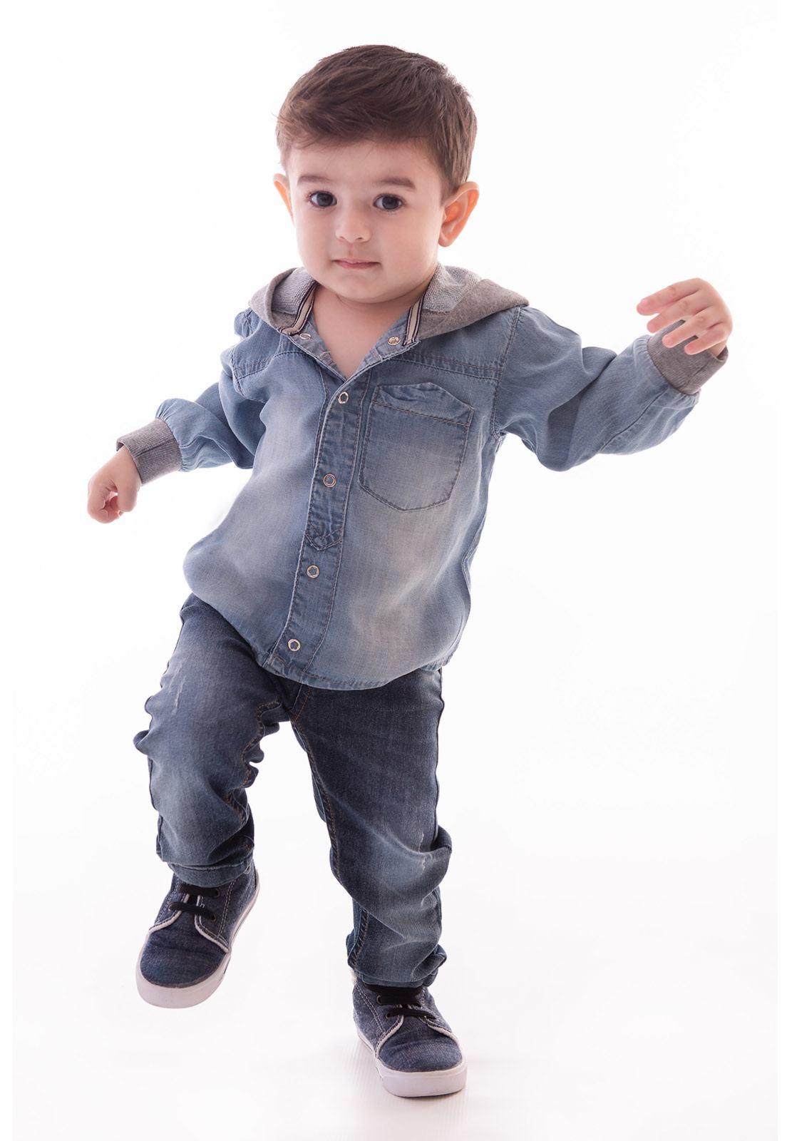 Camisa Jeans Lyocel com Capuz em Moletinho Ref. 425