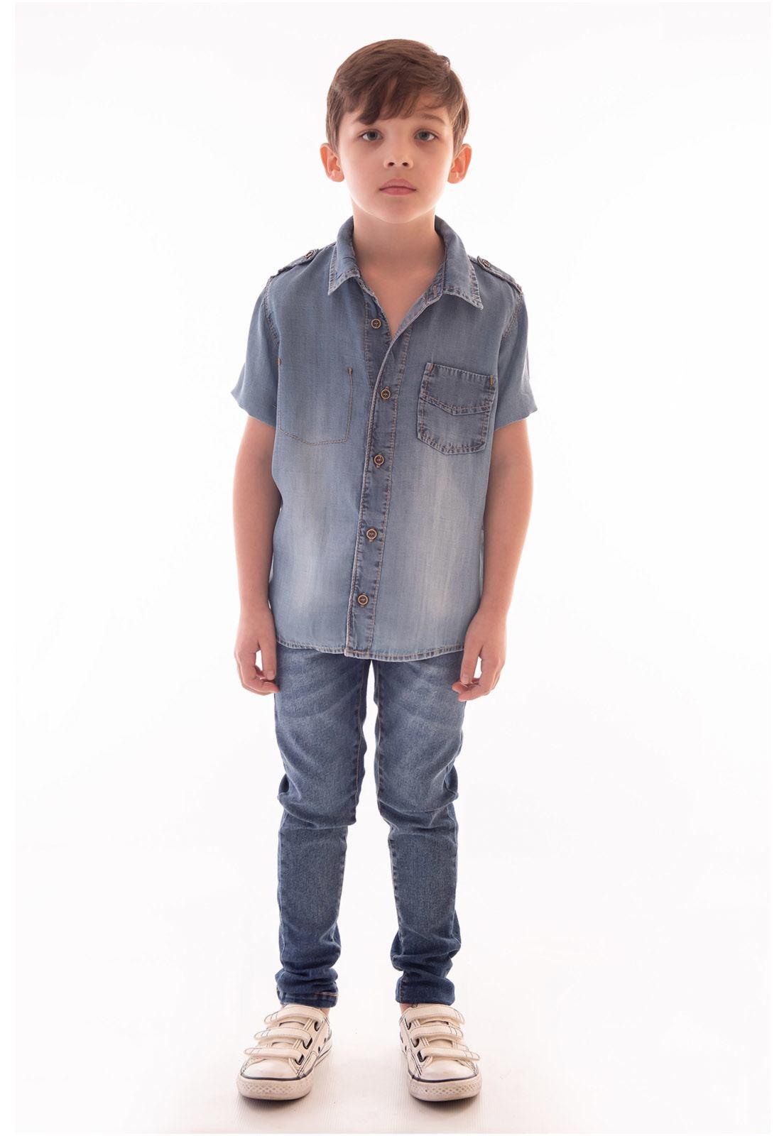 Camisa Jeans Lyocel Manga Curta Ref. 516