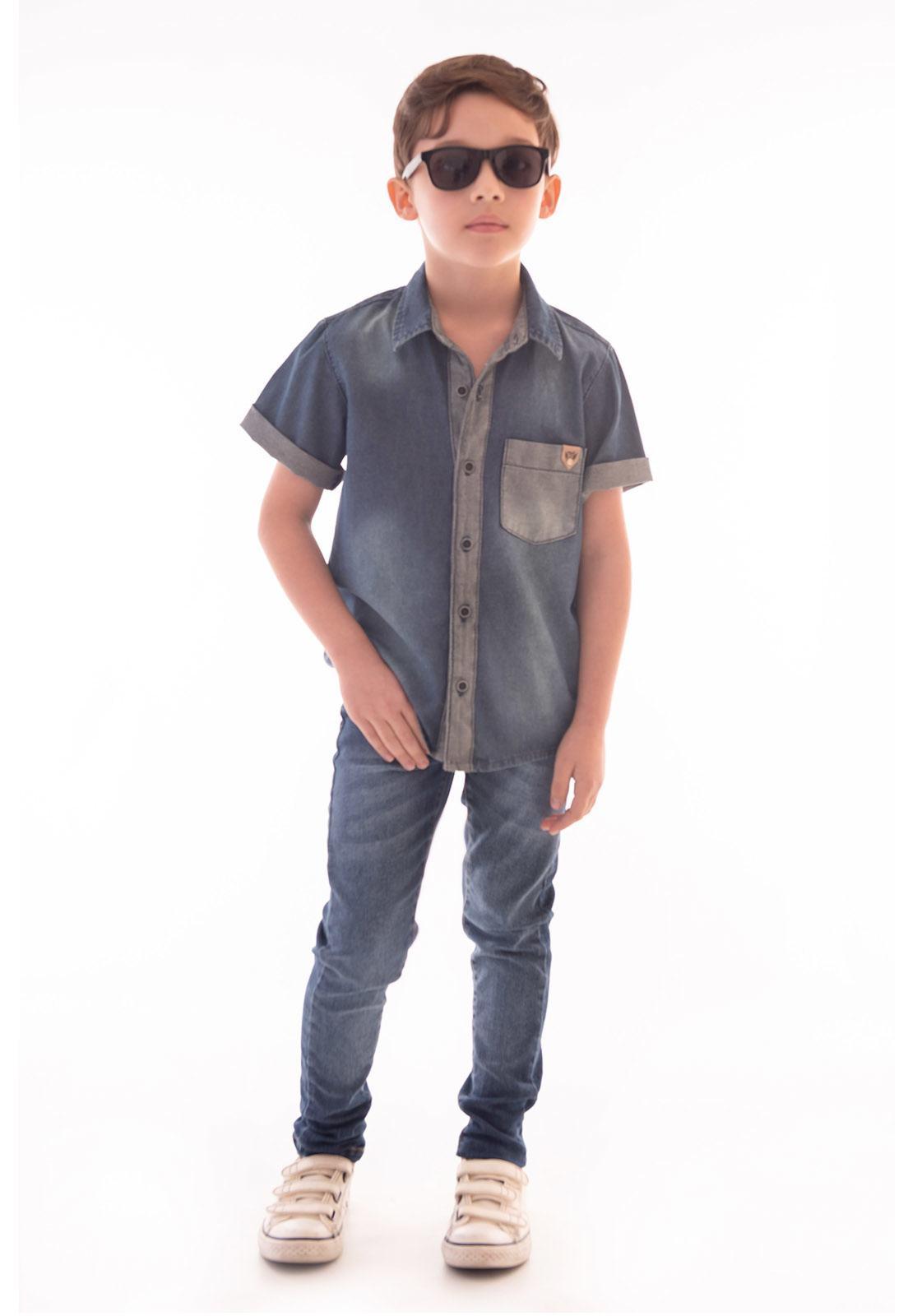 Camisa Jeans Manga Curta Detalhes Inverso Ref. 520
