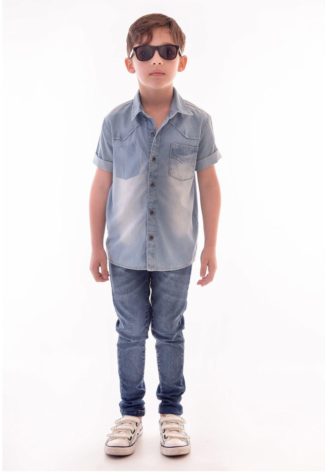 Camisa Jeans Manga Curta Ref. 518