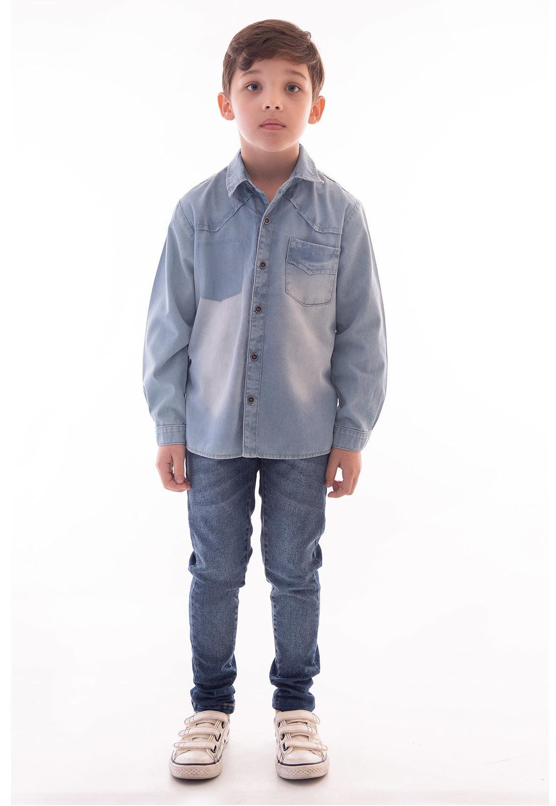 Camisa Jeans Manga Longa Ref. 519