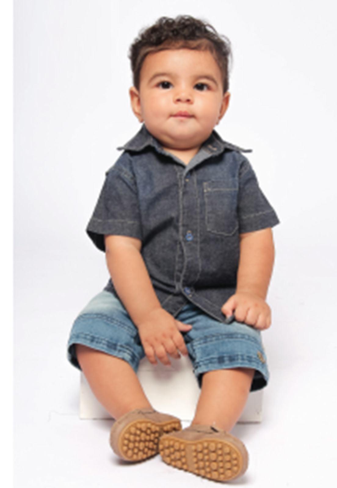 Camisa Jeans Tradicional com 1 Bolso Ref. 186