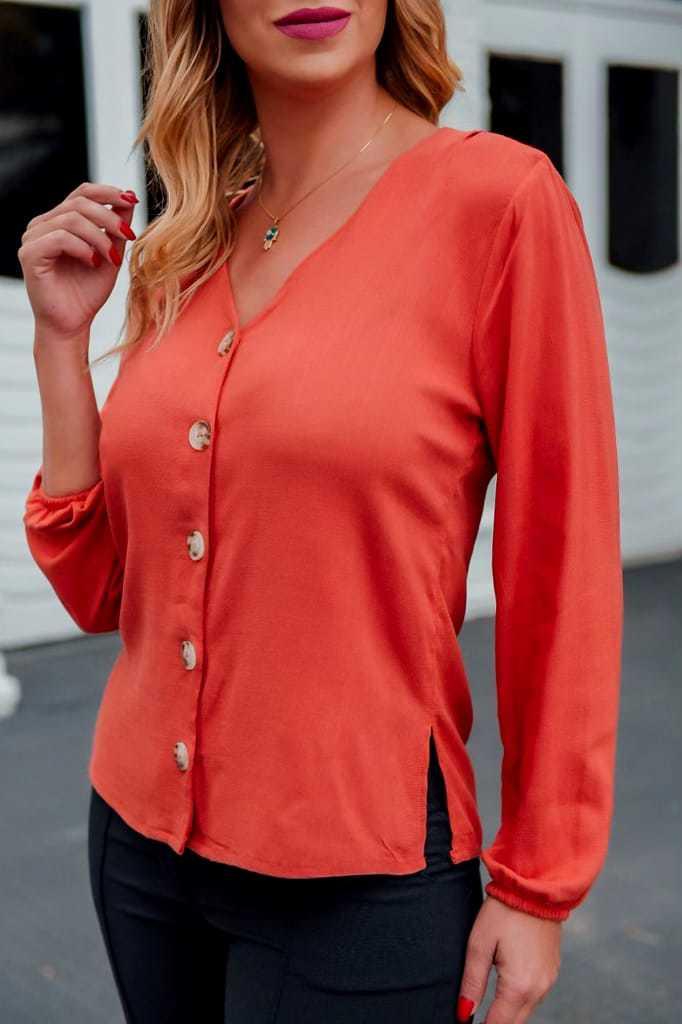 Camisa manga longa  visco linho c/ elastano botão na frente elastico no punho - 148
