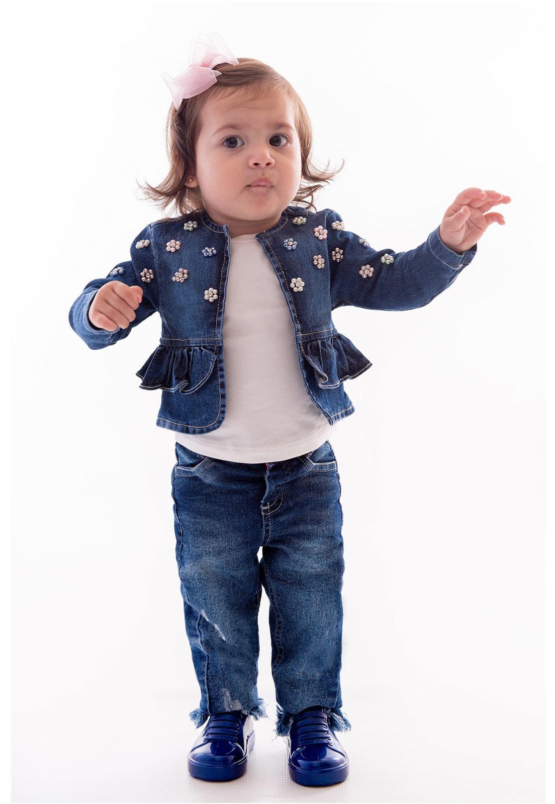 Casaqueto Jeans com Elastano Bordado em Pérolas Ref. 402