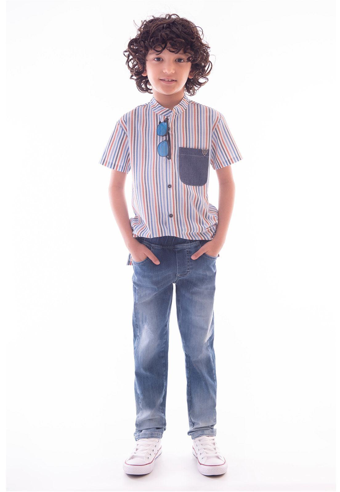 Conjunto Bata Gola de Padre - Calça Jeans com Elástio Ref. 532