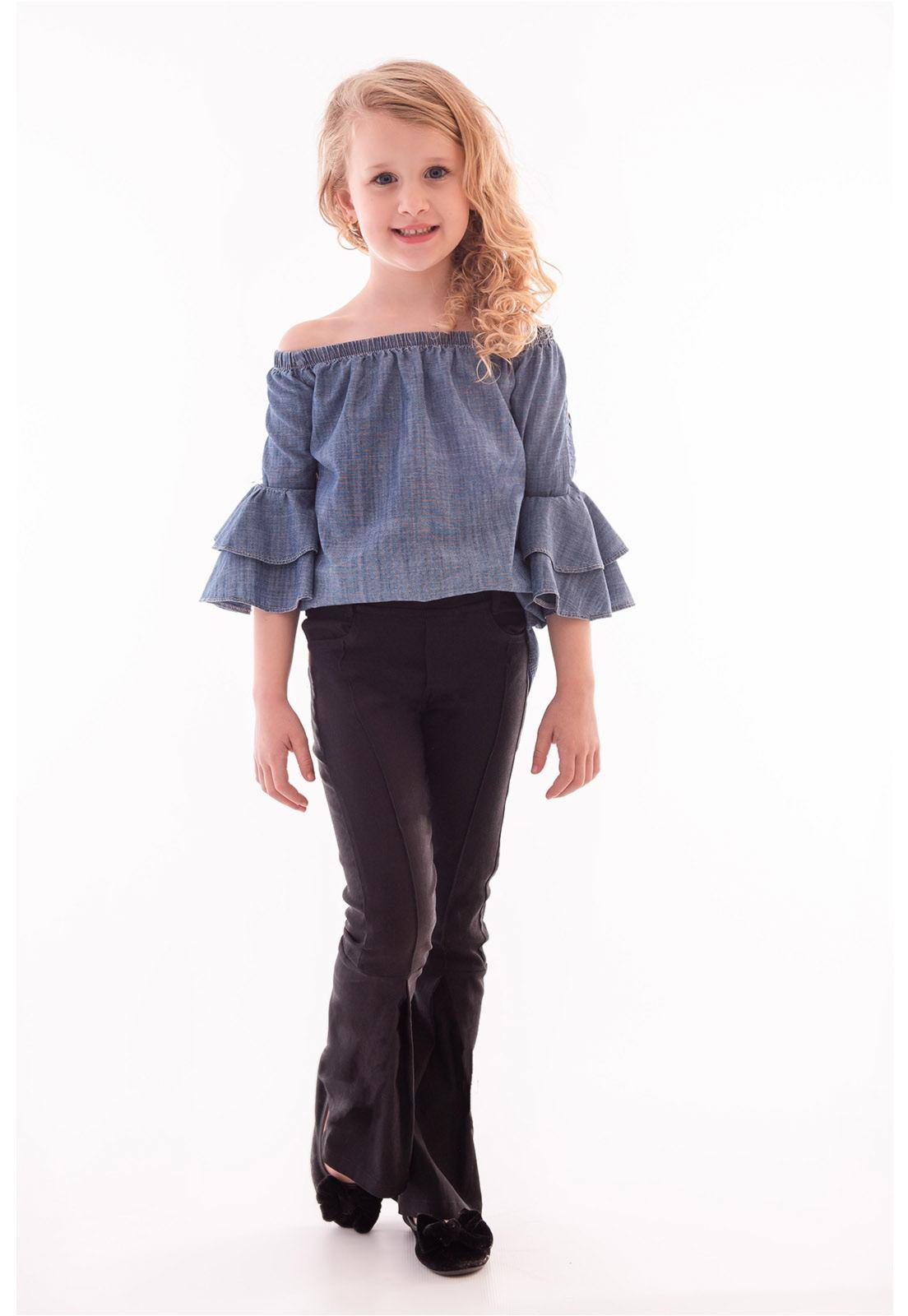Conjunto Bata Jeans Manga 3/4, Calça Flare Alfaiataria com Elastano