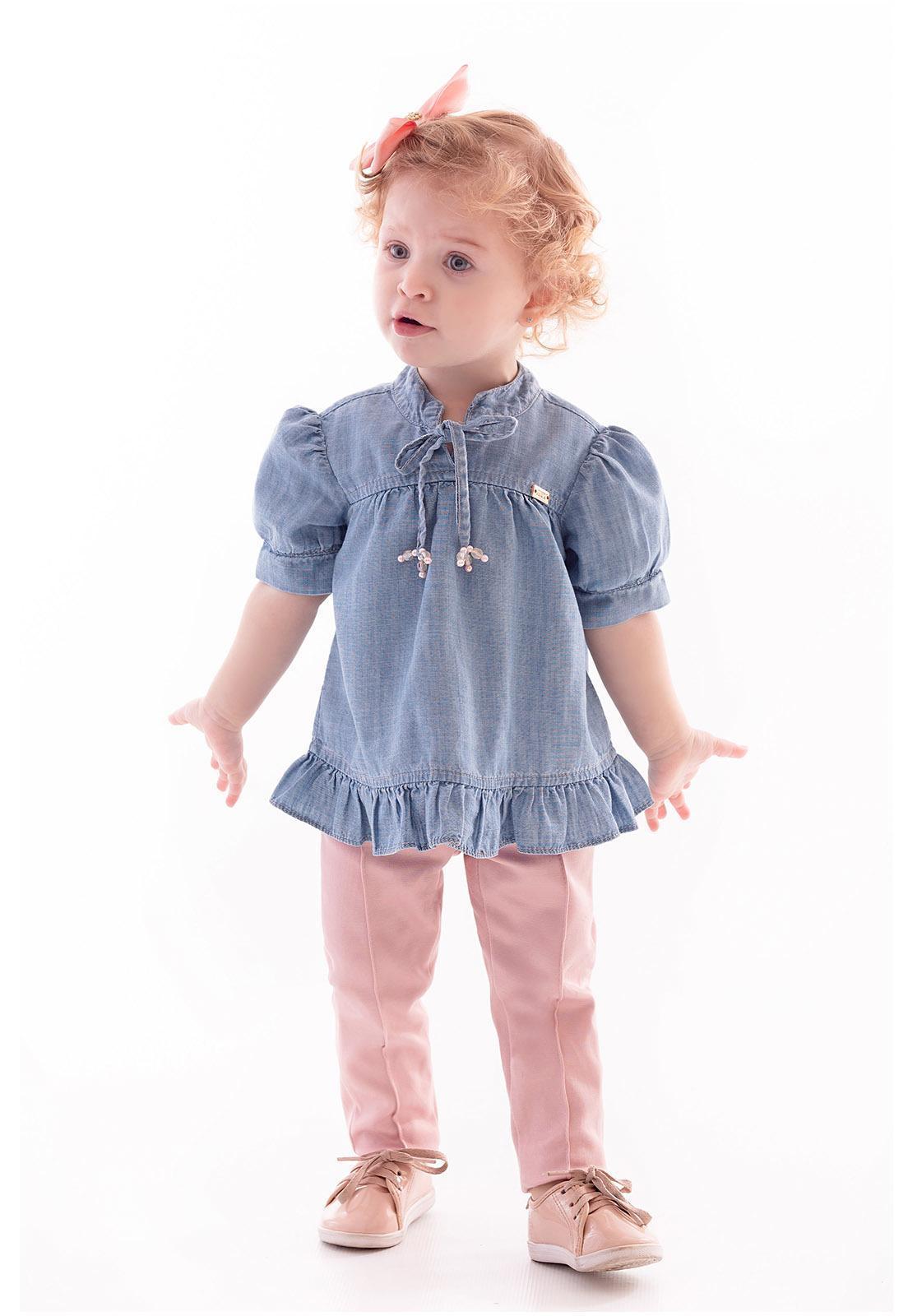 Conjunto Bata Jeans - Calça Alfaiataria Ref. 399