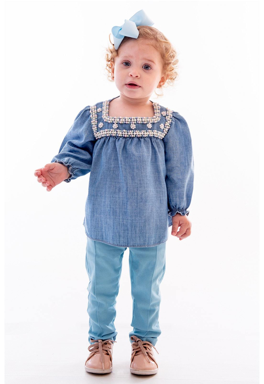 Conjunto Bata Jeans - Calça Alfaiataria Ref. 398