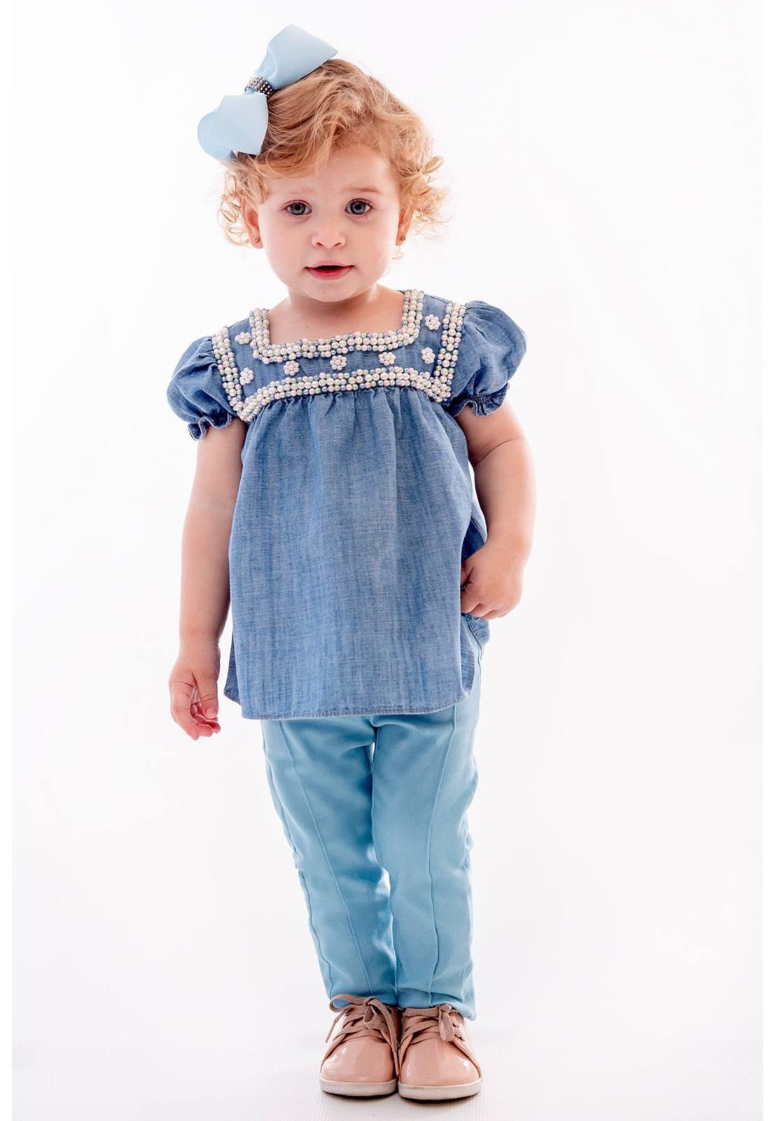Conjunto Bata Jeans com Calça Alfaiataria com Elastano Ref. 397