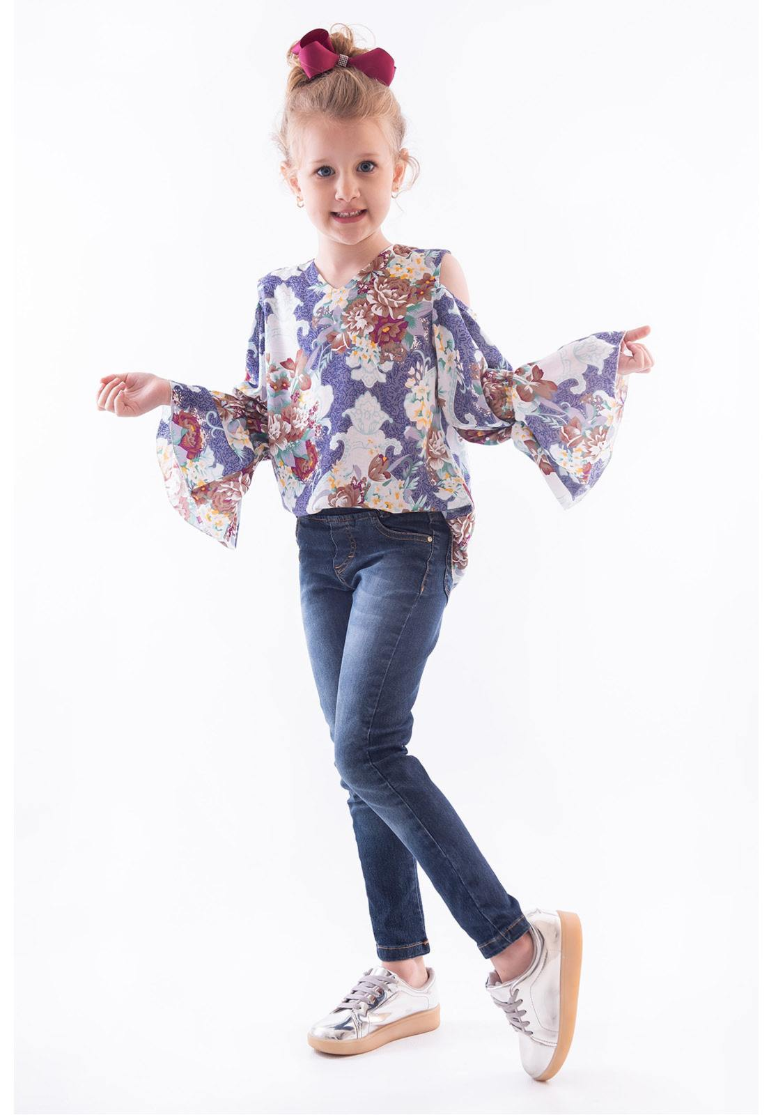Conjunto Bata Viscose - Calça Jeans com Elástico Ref. 469