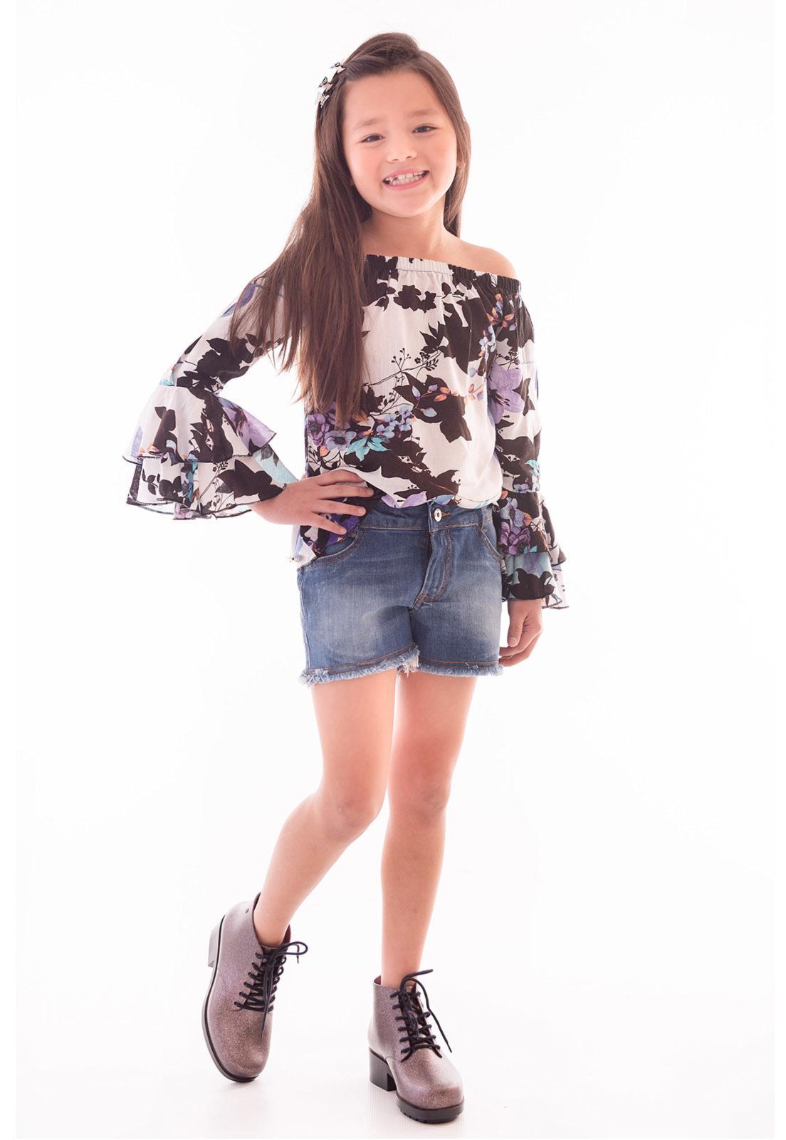 Conjunto Bata Viscose - Shorts Jeans Jeans Ref. 473