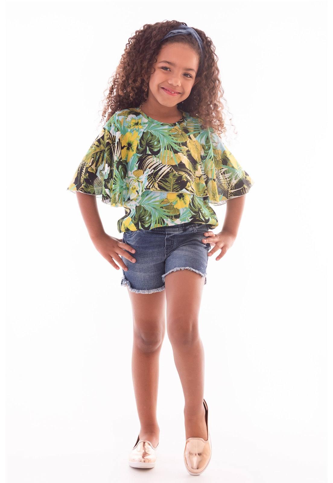 Conjunto Bata Viscose - Shorts Jeans com Elastano Ref. 474