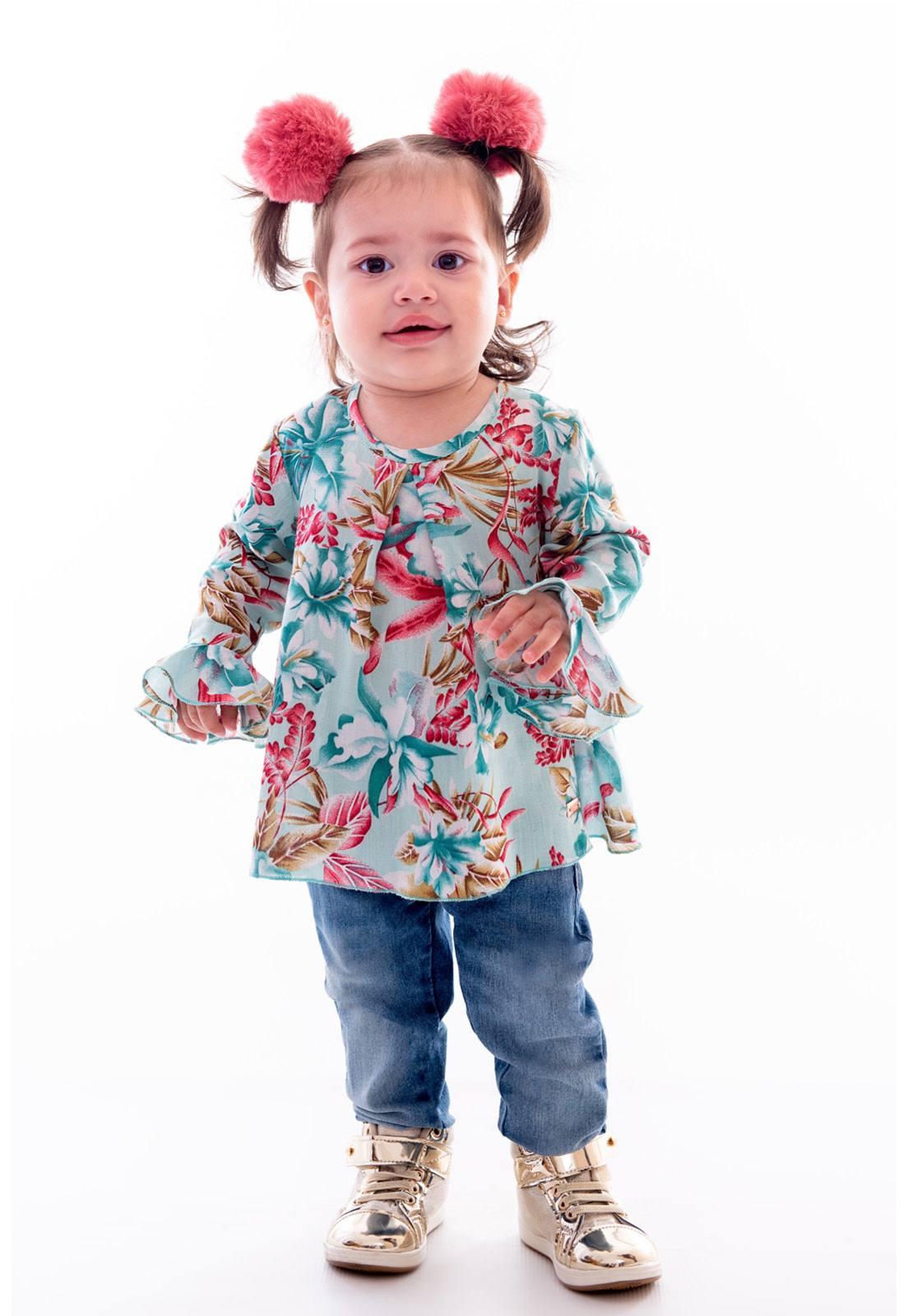 Conjunto Bata Viscose - Calça Jeans com Elástico Ref. 389