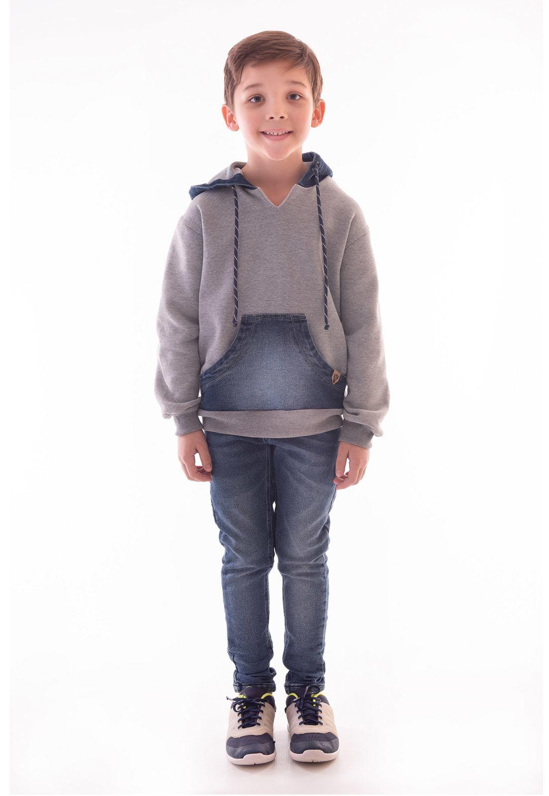 Conjunto Blusa Moletom Detalhes em Jeans, Calça Jeans Moletom com Elastano