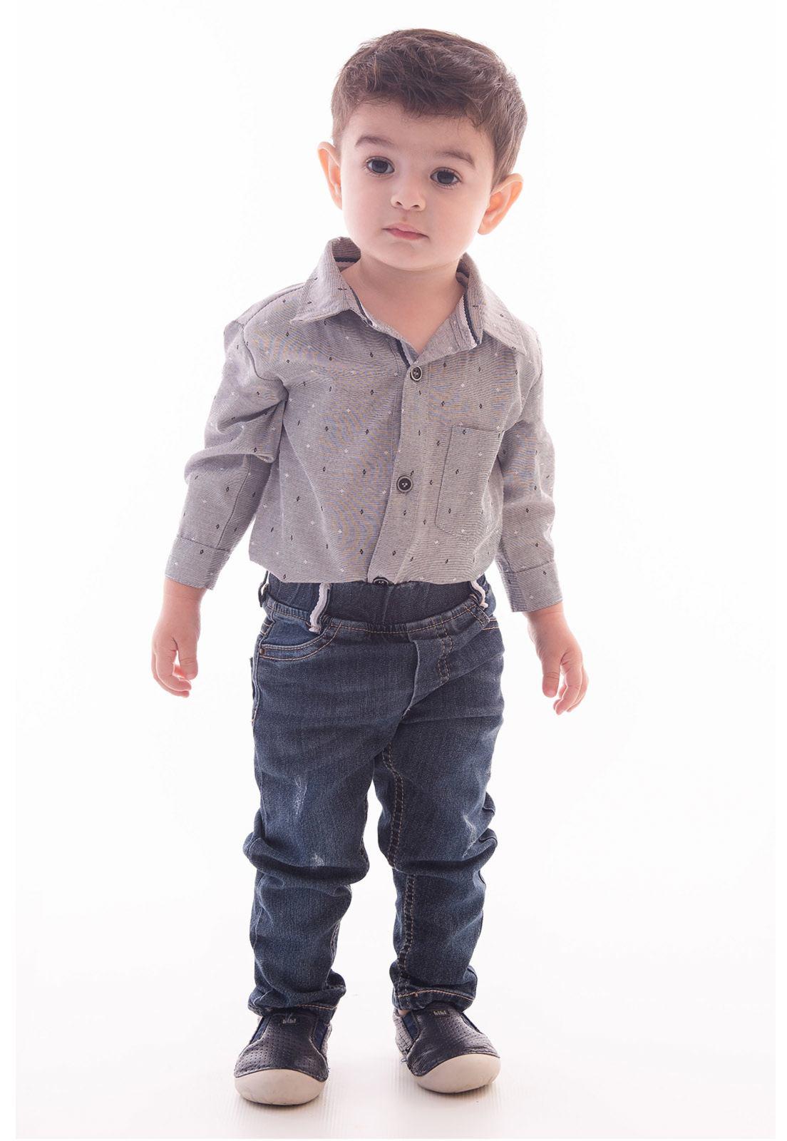 Conjunto Body Maquinetado Manga Longa, Calça Jeans com Elástico e Elastano