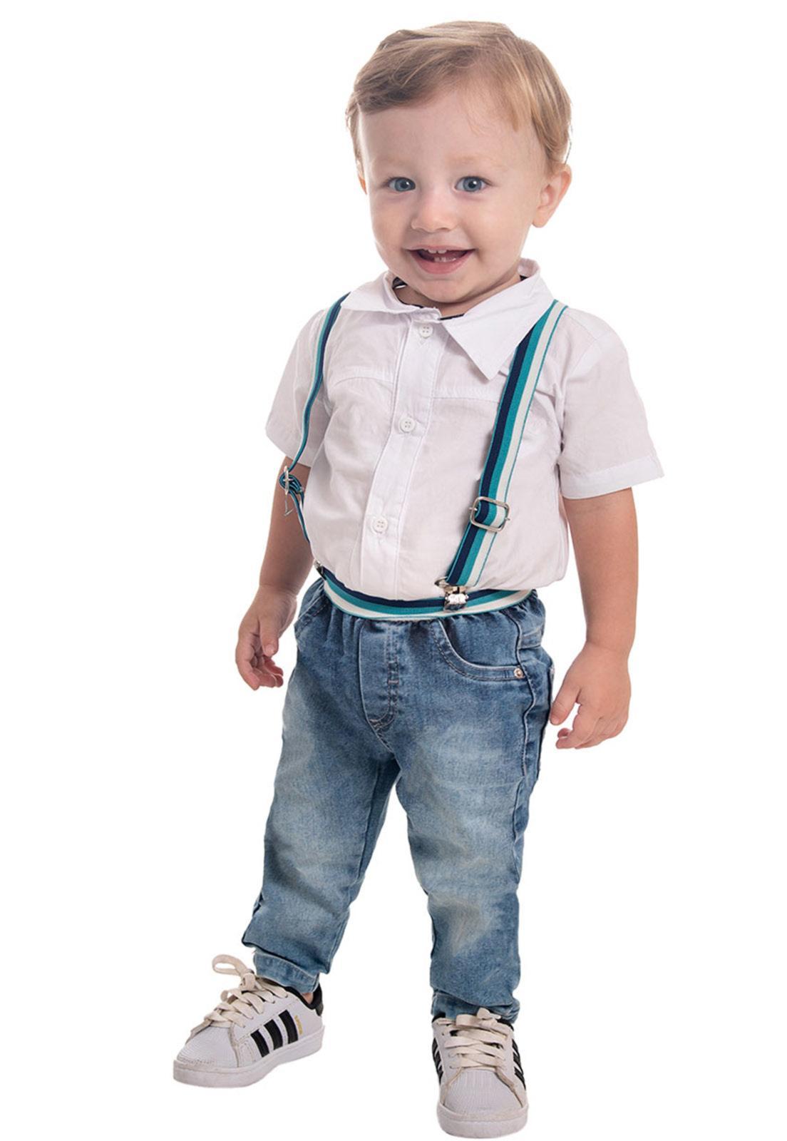 Conjunto Body Tricoline, Calça Jeans Com Elástico Regulador e Suspensório