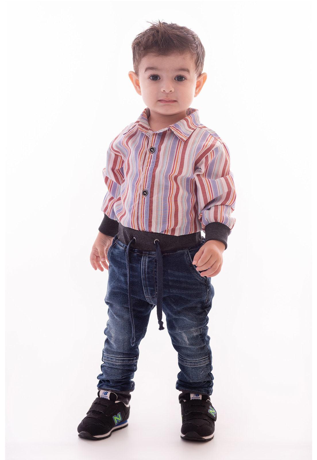 Conjunto Camisa Listras, Calça Jeans Moletom com Elástico no Cós e Punho em Ribana