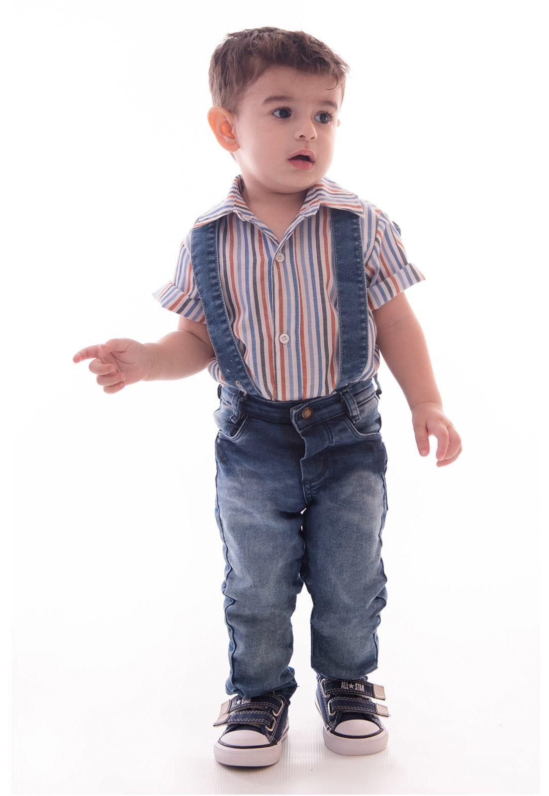 Conjunto Camisa Listras Manga Curta com Mochila Acoplada em Jeans, Calça com Elastano