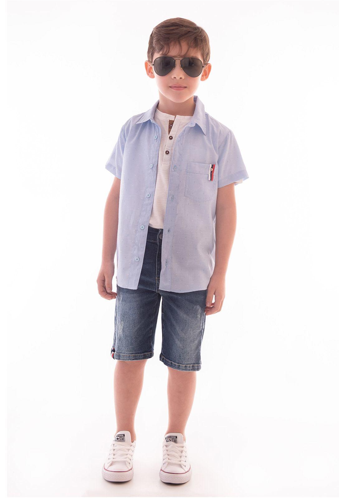 Conjunto Camisa Maquinetada - Bermuda Jeans Ref. 531