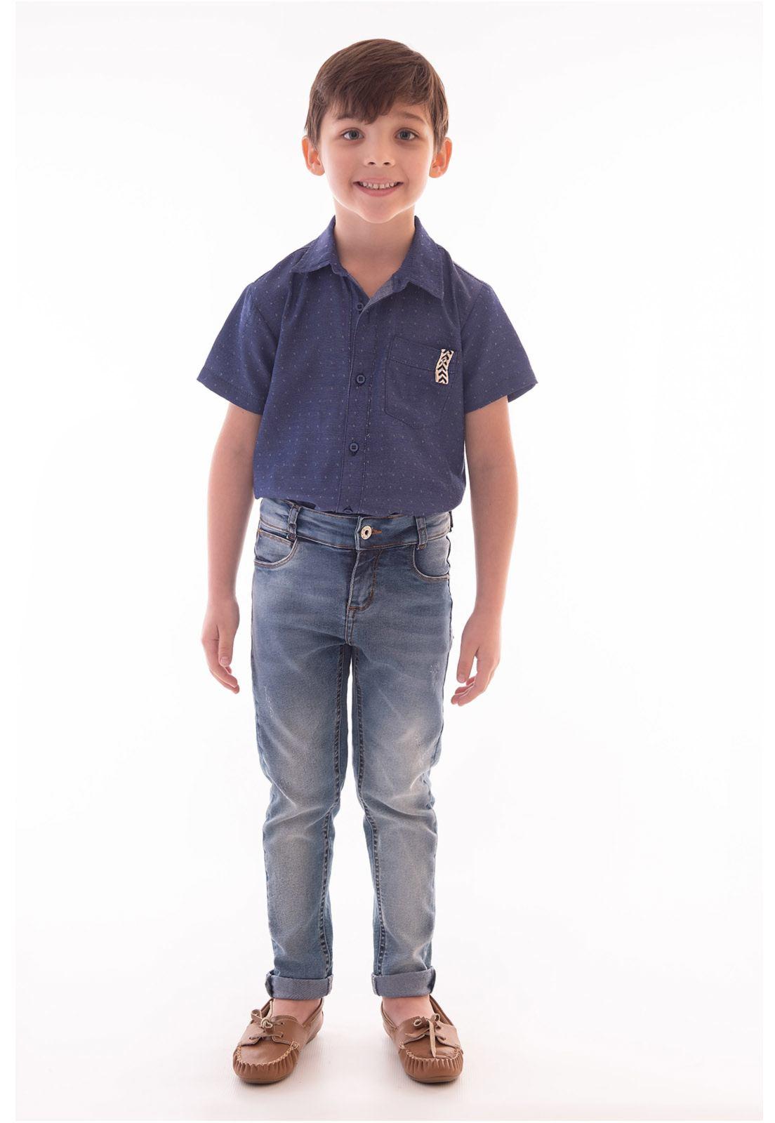 Conjunto Camisa Maquinetada Manga Curta, Calça Jeans com Elastano