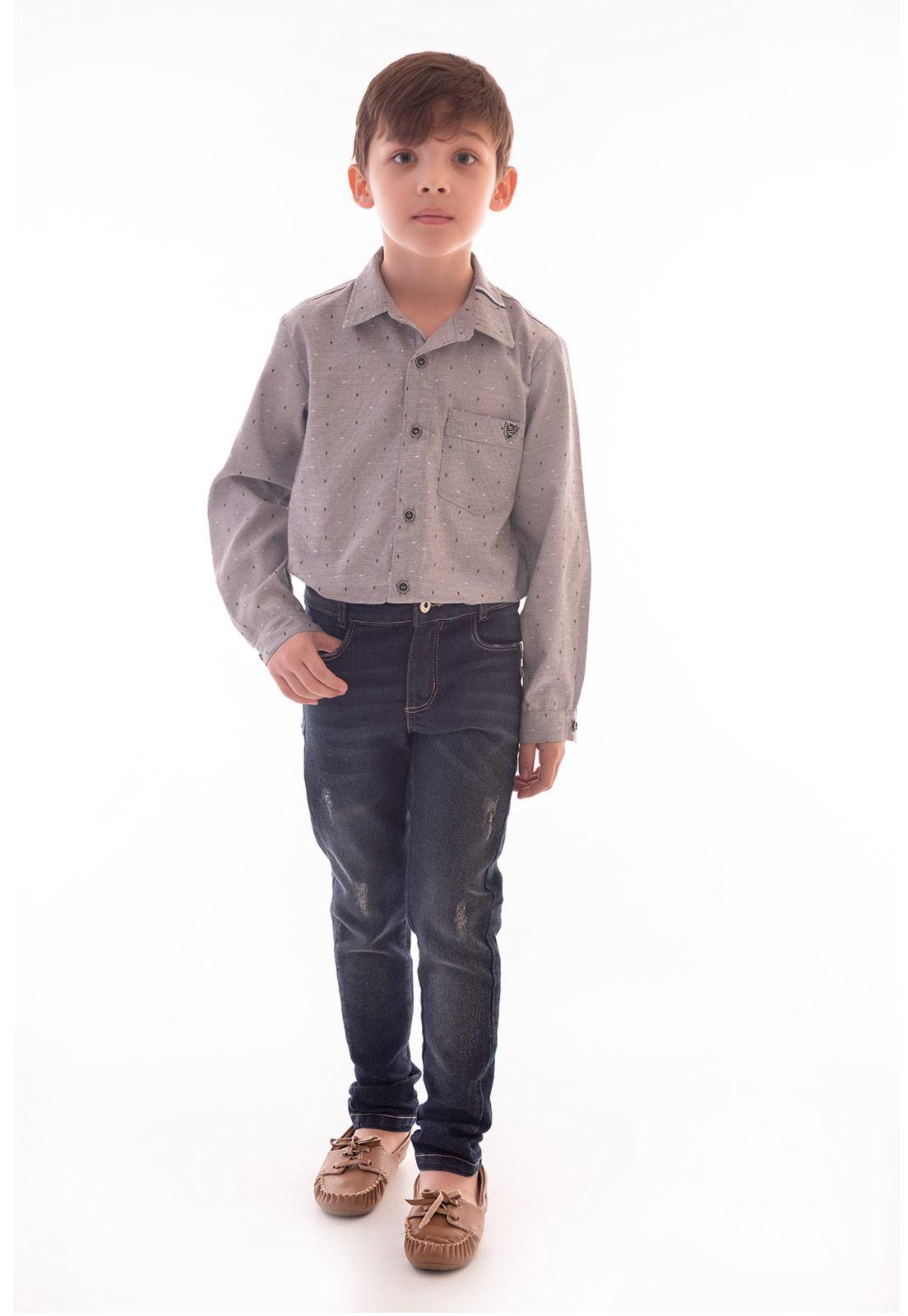 Conjunto Camisa Maquinetada Manga Longa, Calça Jeans com Elastano
