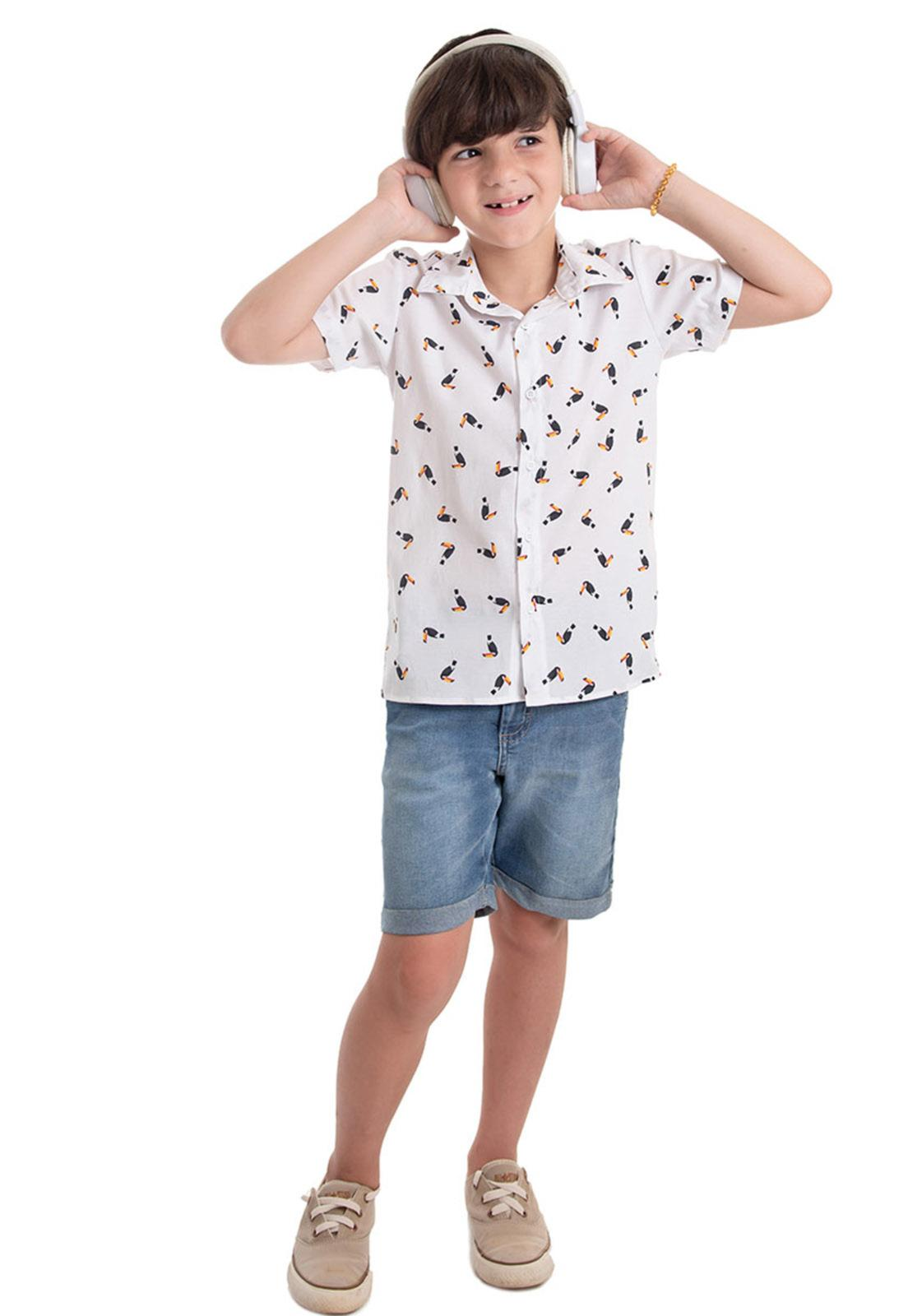 Conjunto Camisa Tricoline Estampada, Bermuda Jeans Barra do Avesso