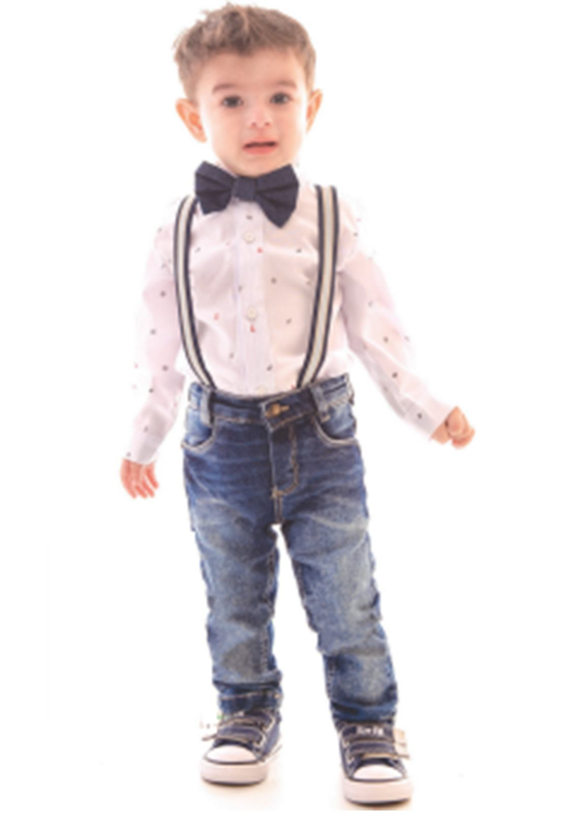 Conjunto Camisa Tricoline Manga Longa, Calça Jeans com Elastano, Acompanha Suspensório e Gravata