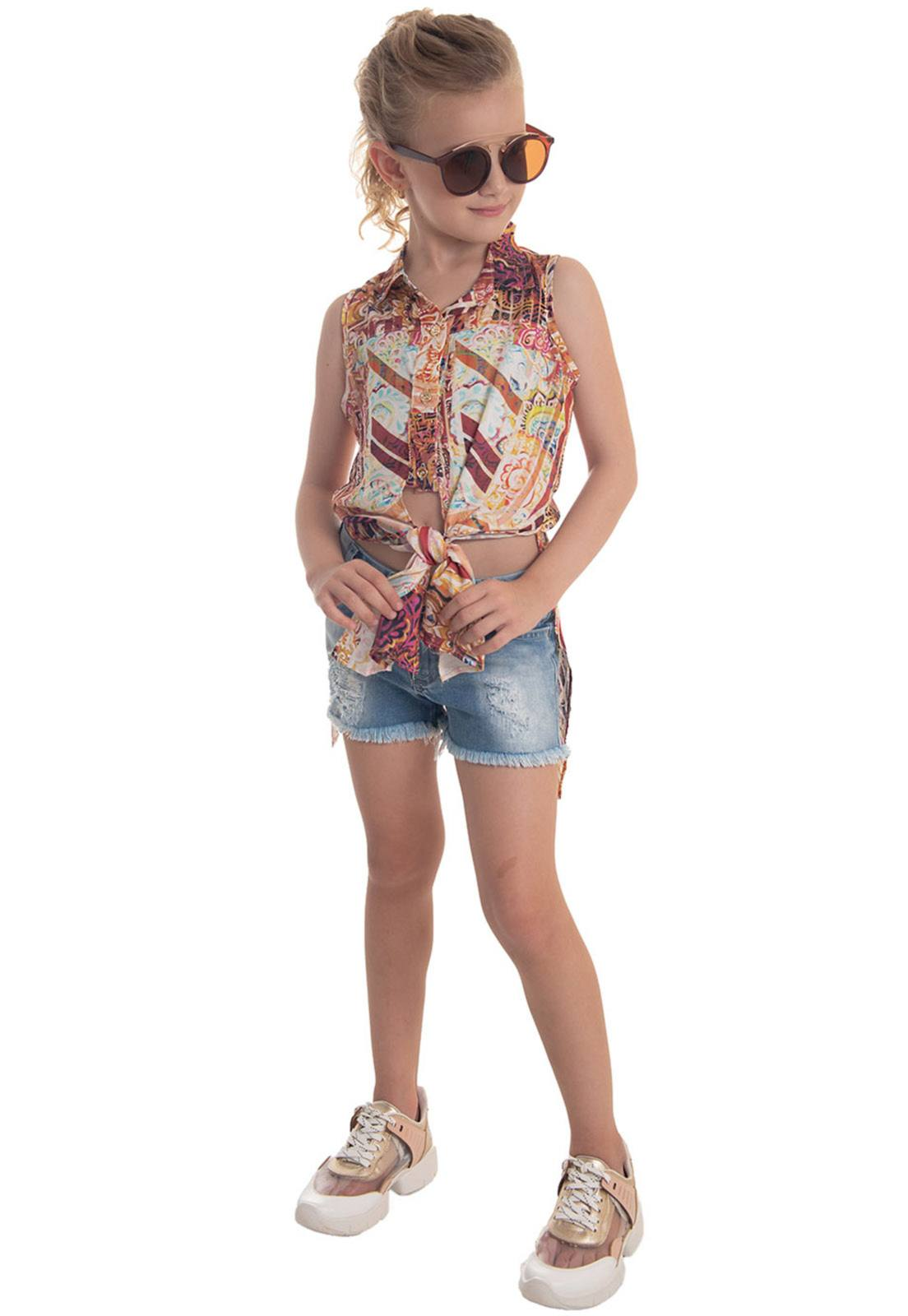 Conjunto Camisa Viscose Amarração, Shorts Jeans Destroyed