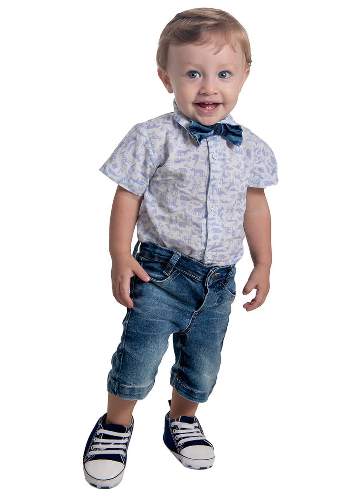 Conjunto Jeans Camisa Estampada - Bermuda Jeans Ref. 592
