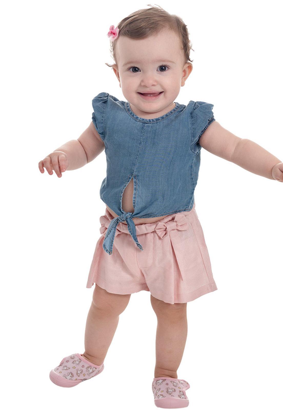 Conjunto Blusa Jeans - Shorts Viscose com Lacinho Ref. 552