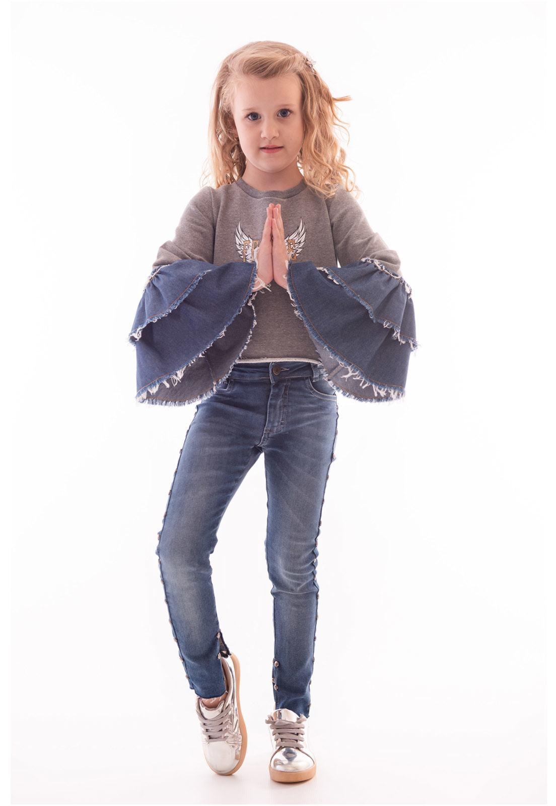 Cropped Moletinho com Mangas em Jeans Ref. 443