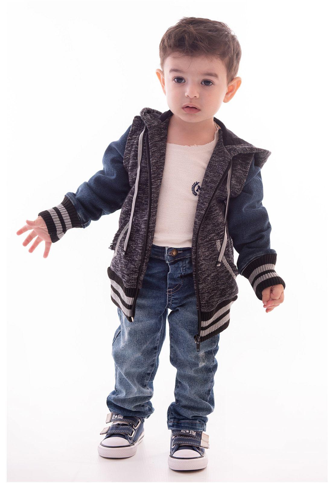 Jaqueta e Capuz em Moletom Mescla, Mangas em Jeans, Punhos em Ribana
