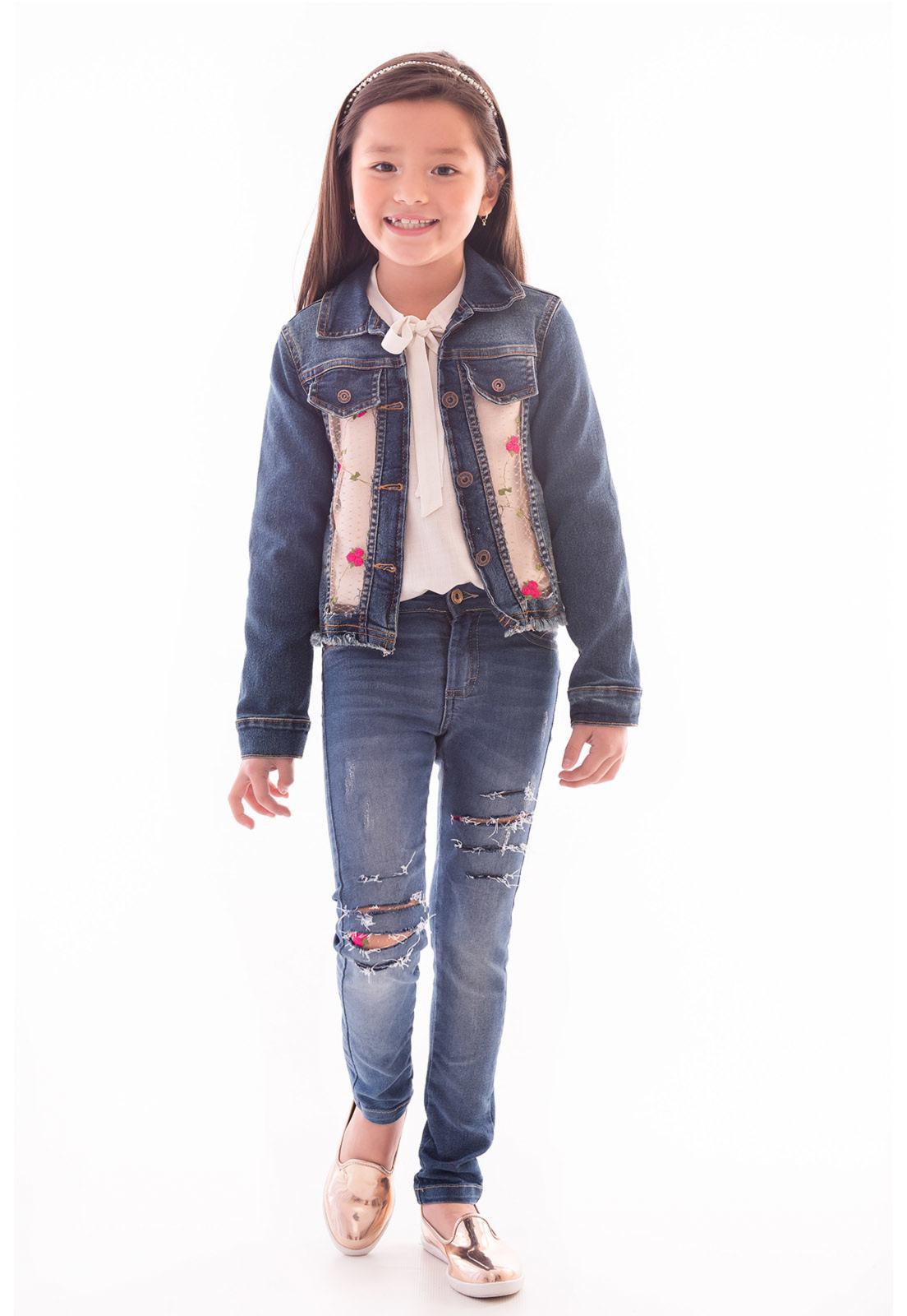 Jaqueta Jeans com Elastano Renda Bordada Ref. 478