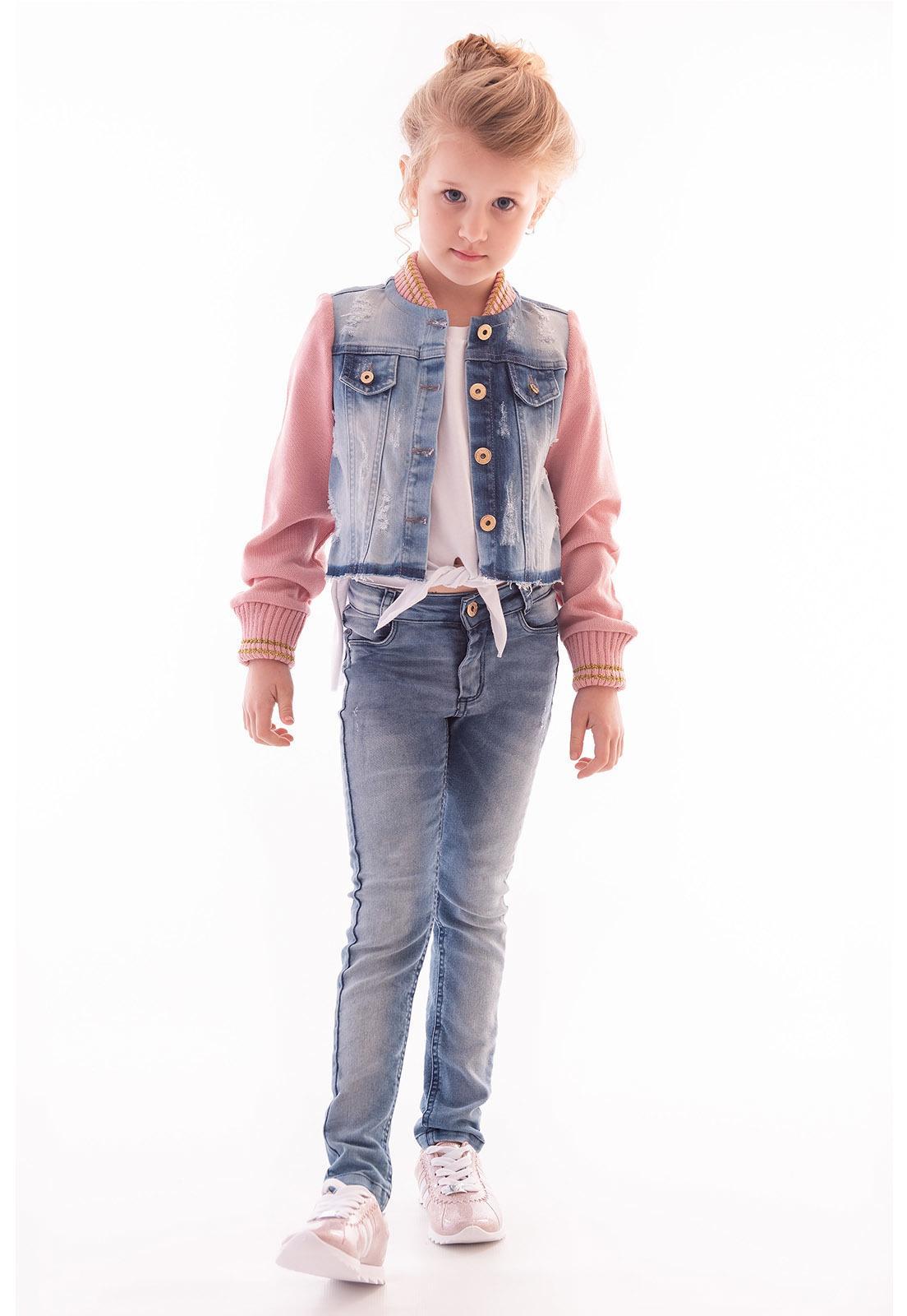 Jaqueta Jeans com Manga e Gola de Retilínea Ref. 482