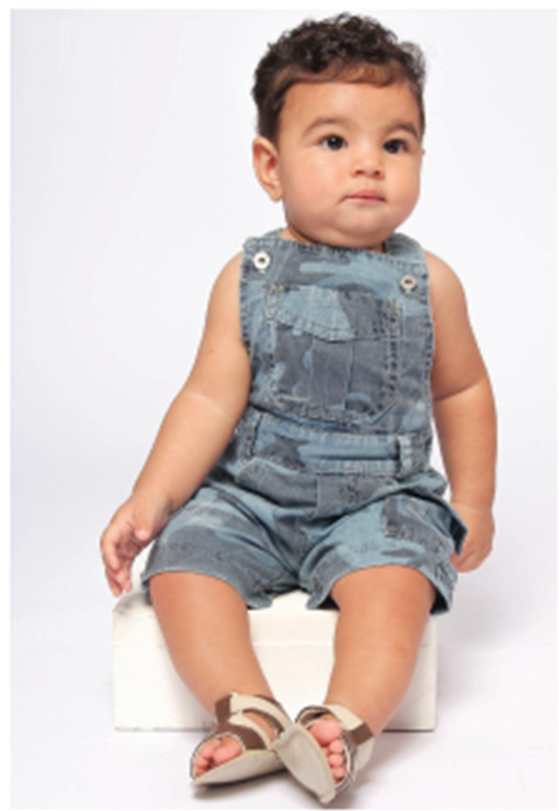 Jardineira Camuflada Baby Menino