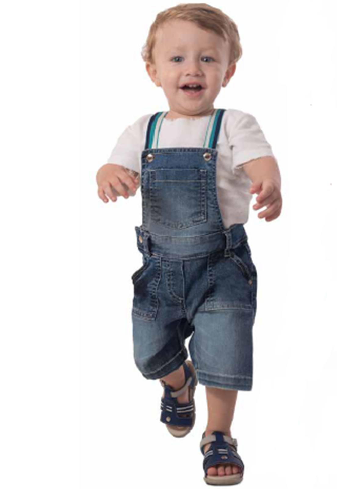 Jardineira Jeans Botões de Pressão Suspensório Colorido