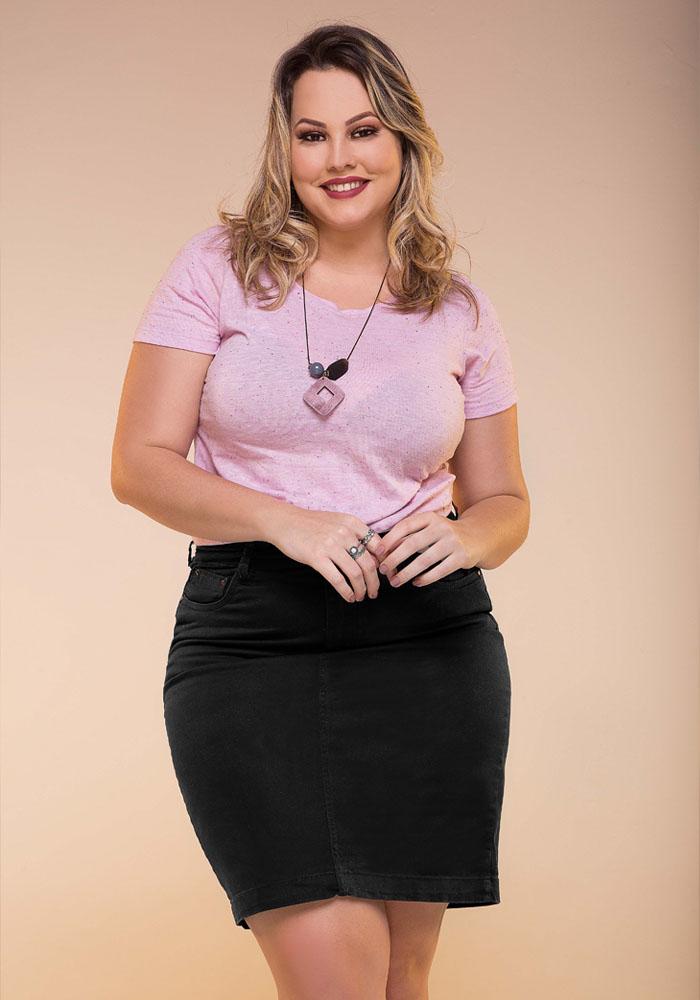 Saia Sarja Secretária Fact Jeans - Plus Size Ref. 04222