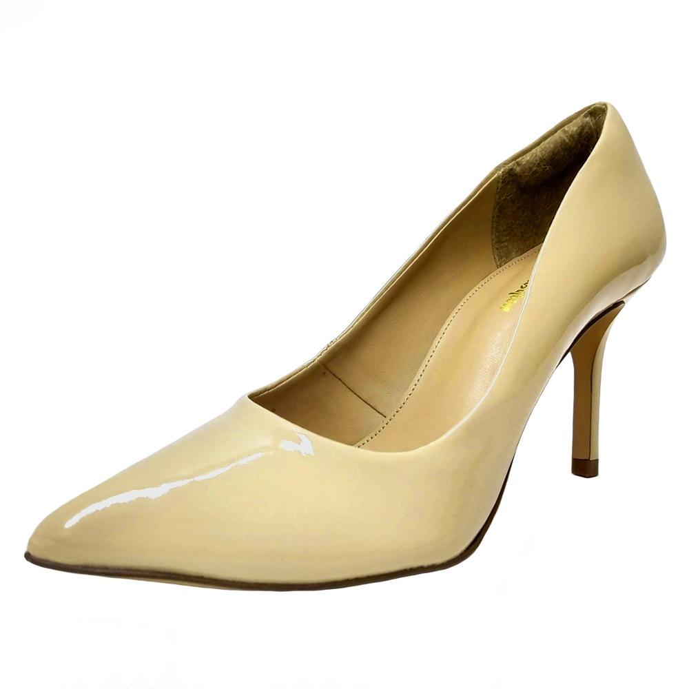 Scarpin Salto Médio Conceito Fashion 90501 Nude Verniz