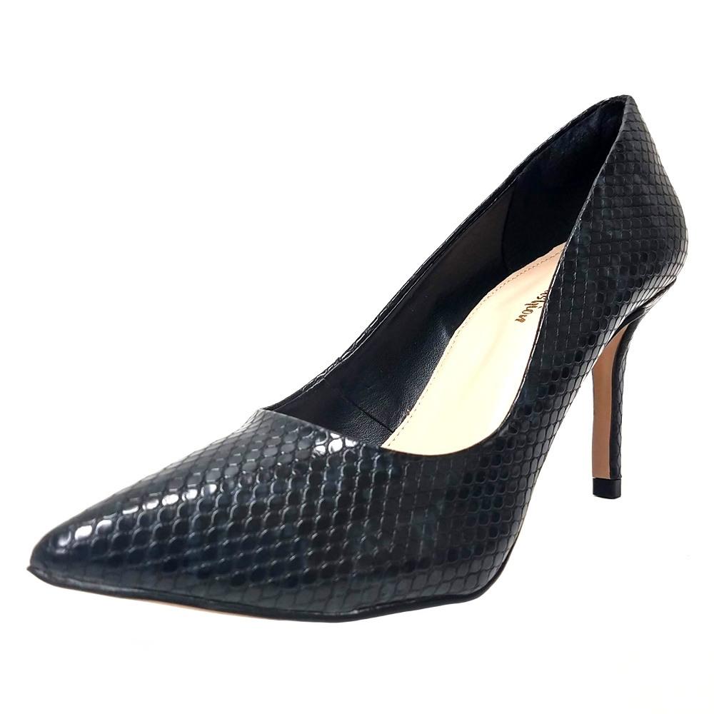 Scarpin Salto Médio Conceito Fashion 90501 Preto Cobra