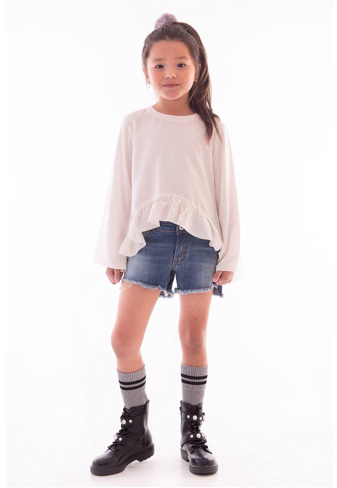 Shorts Jeans com Elastano Barra Transversal Ref. 483