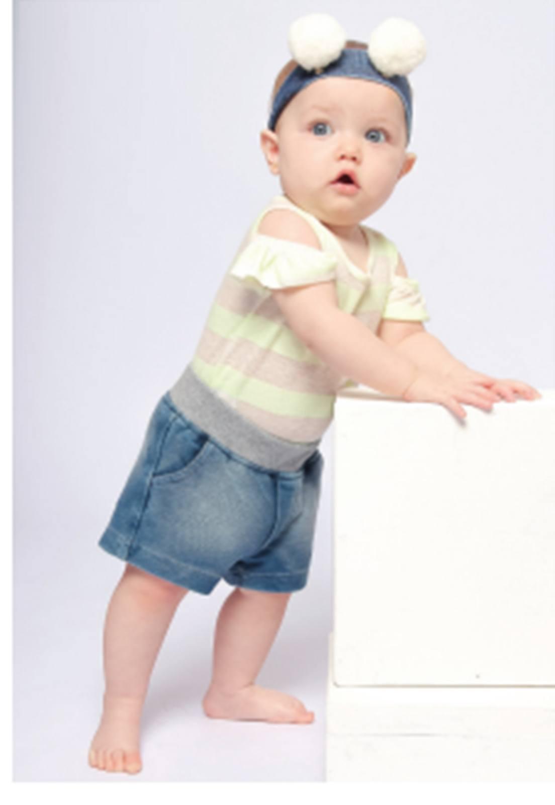 Shorts Jeans em Moletom com Ribana na Cintura