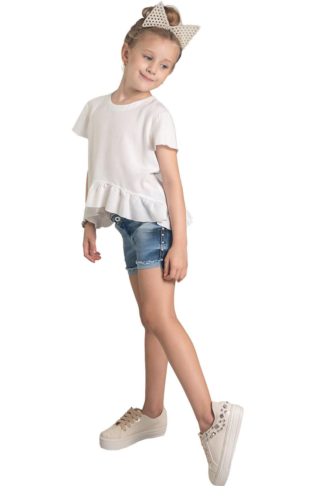 Shorts Jeans Mullet Aplique em Pérolas