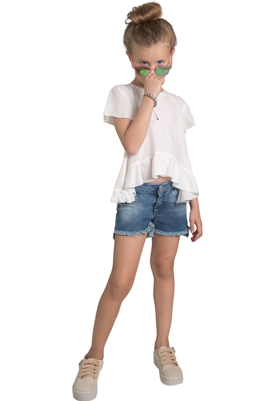 Shorts Jeans Mullet Básico Desfiado