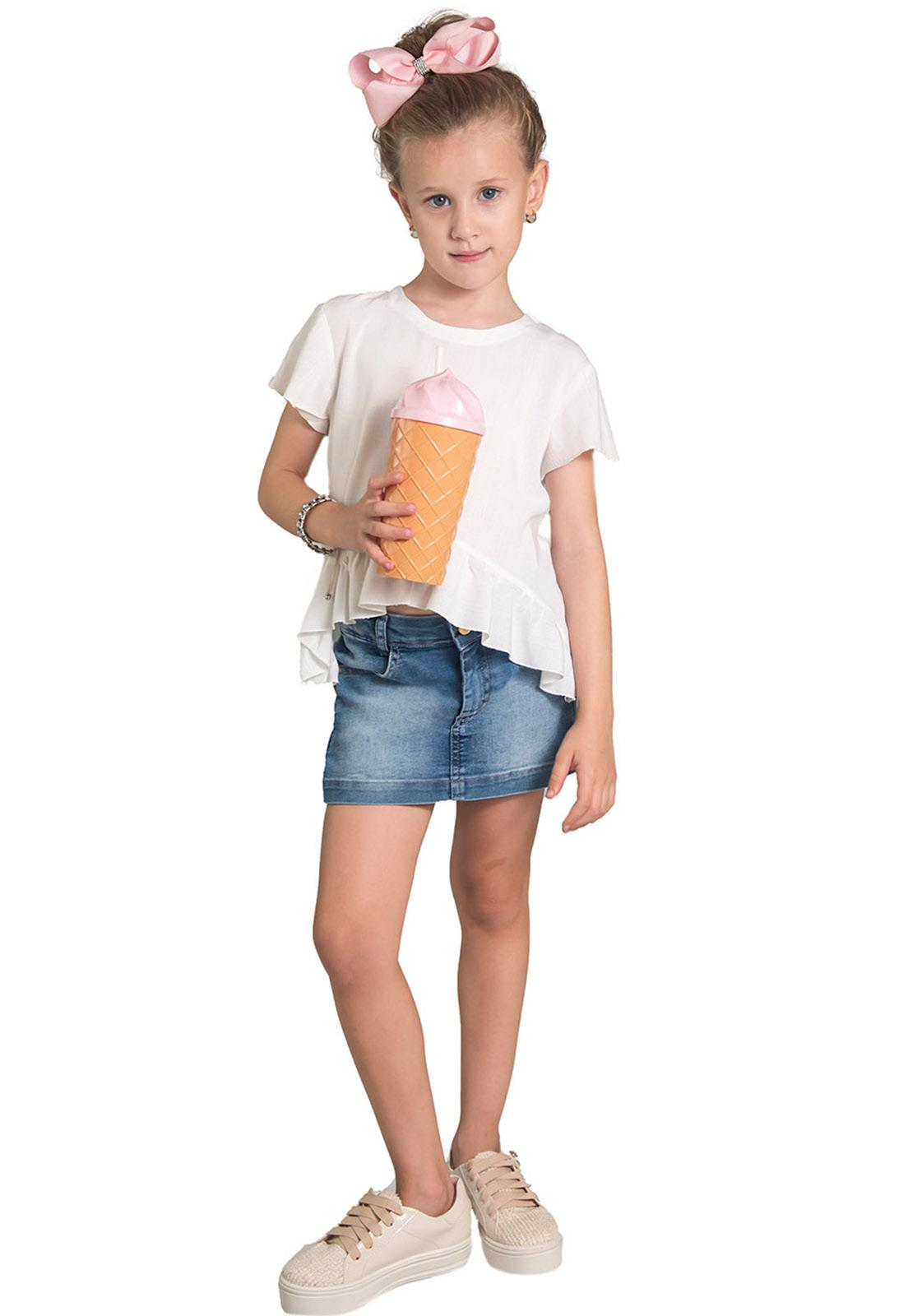 Shorts Saia Jeans Botões Básico