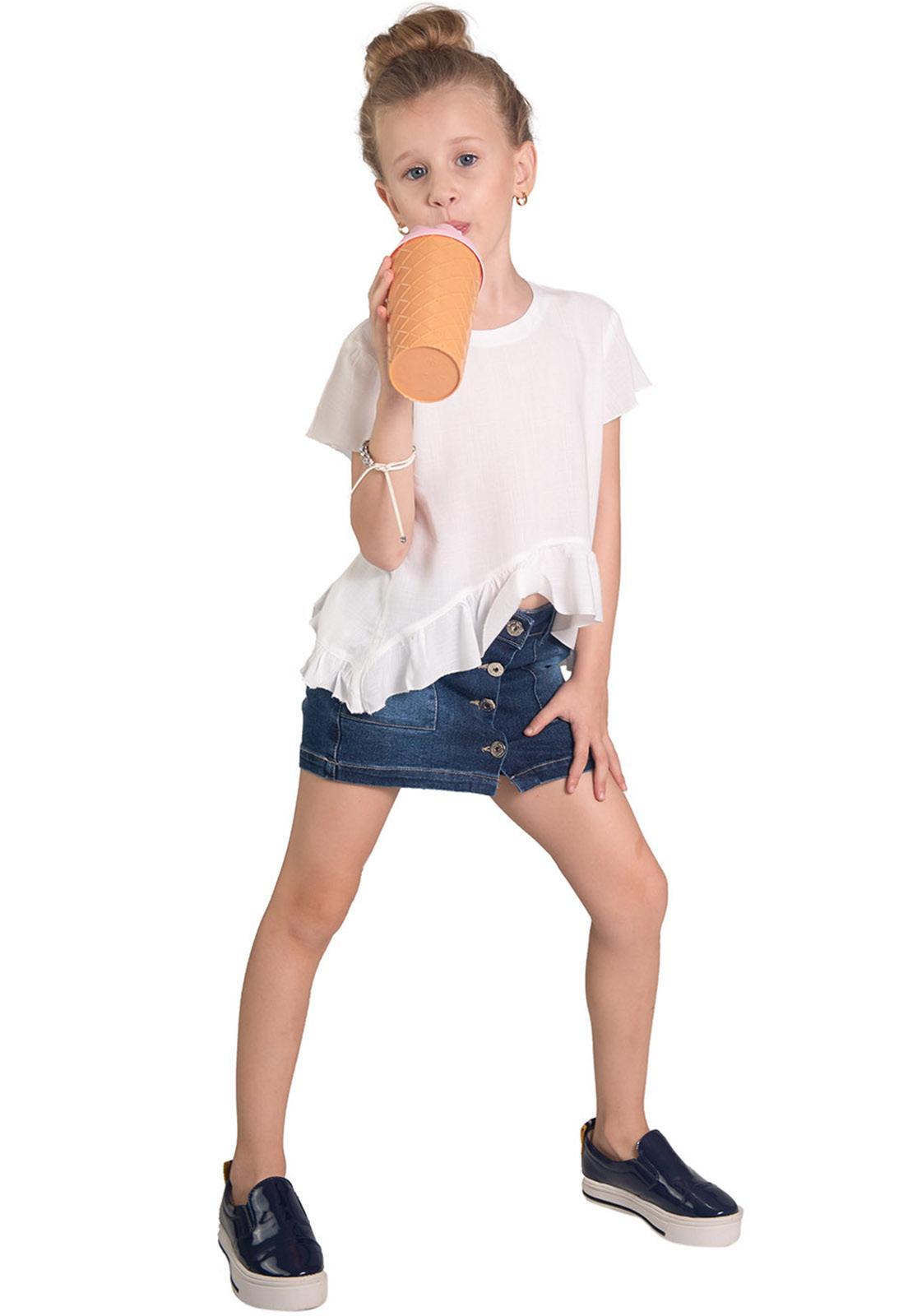 Shorts Saia Jeans Botões Frente