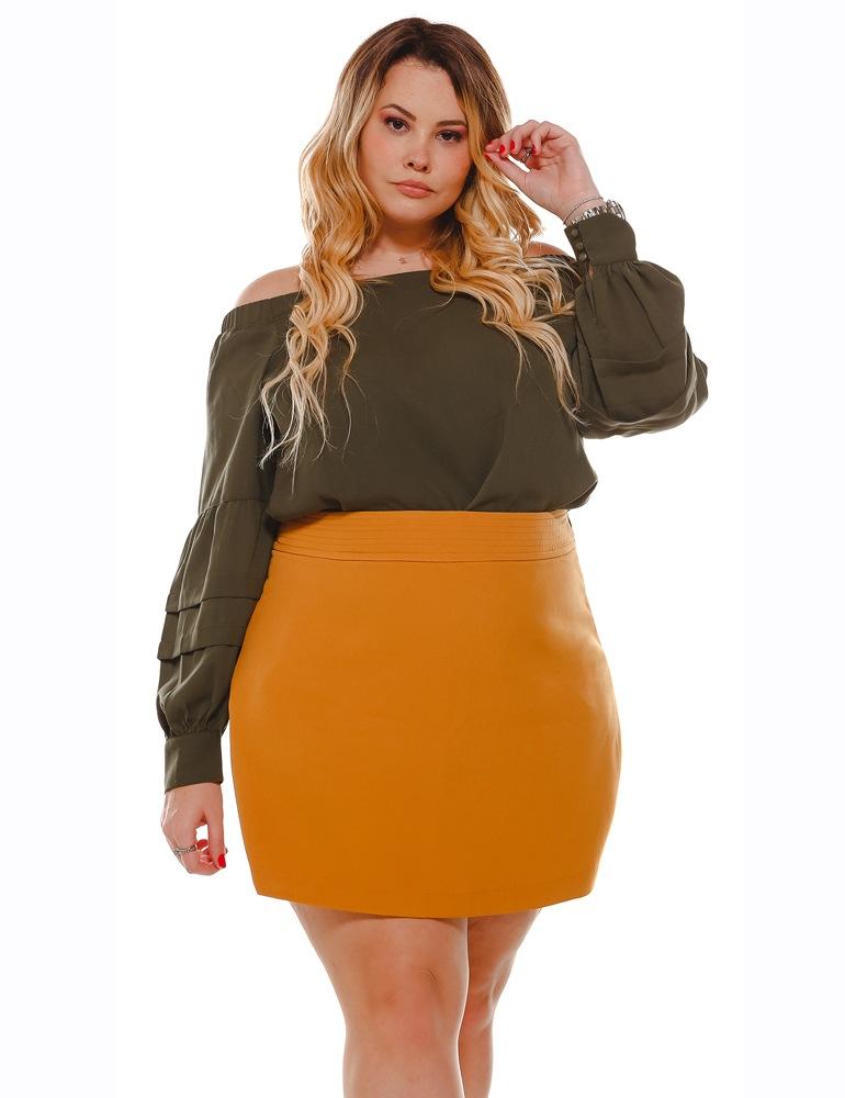 Shorts Saia Malha Feminina Fact Jeans Colorida ref. 04651 - Plus Size