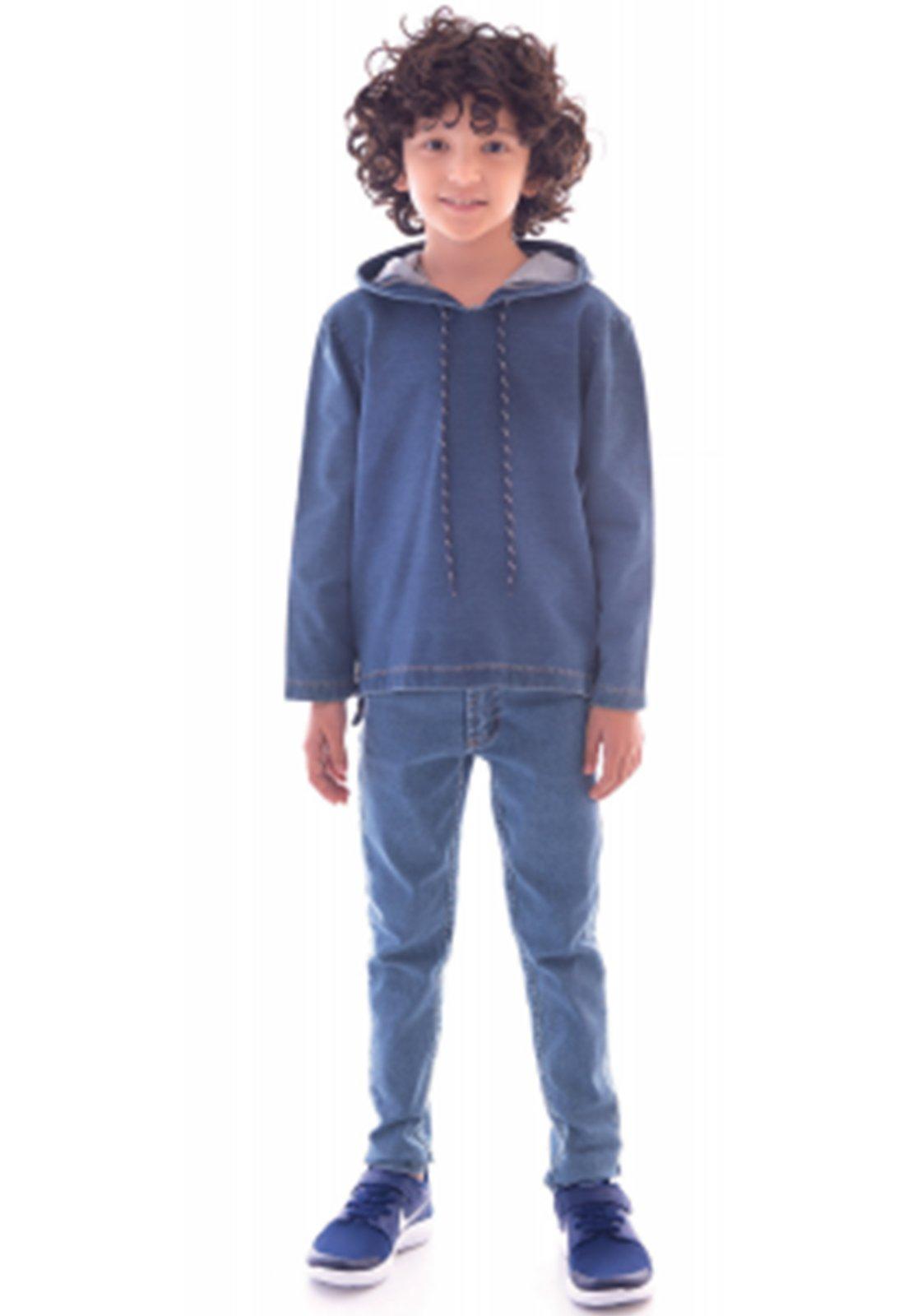 T-Shirt Jeans Moletinho com Capuz